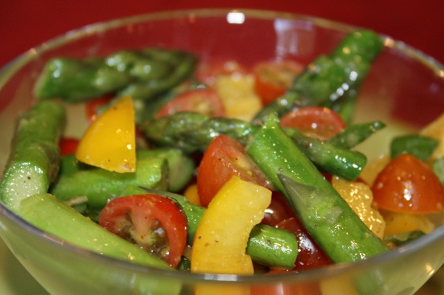 Tomato, Basil and Asparagus Salad