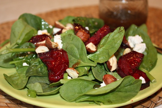 Roasted Beet and Spinach Salad with Balsamic Vinaigrette