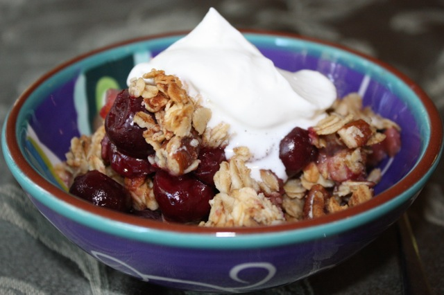 Cherry Pear and Pecan Breakfast Crumble