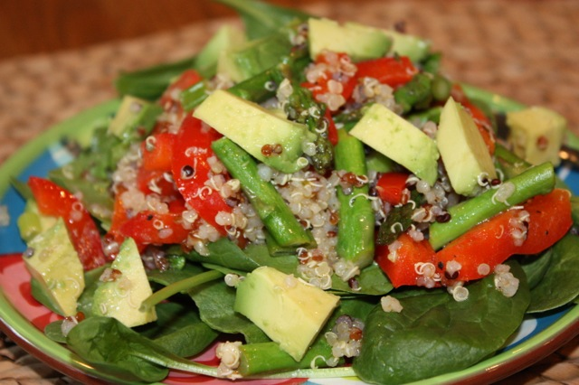 Roasted Asparagus, Red Pepper and Quinoa Salad